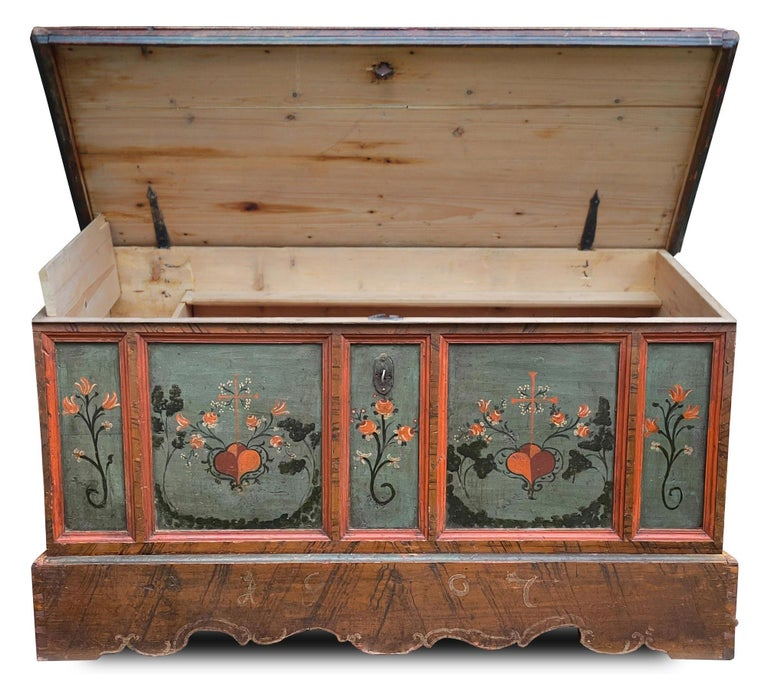 1807 Blu Painted Alpine Central Europe Blanket Chest For Sale 6