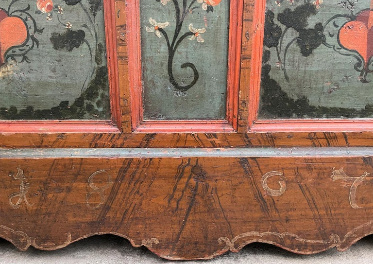Early 19th Century 1807 Blu Painted Alpine Central Europe Blanket Chest For Sale