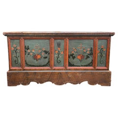 1807 Blu Painted Alpine Central Europe Blanket Chest