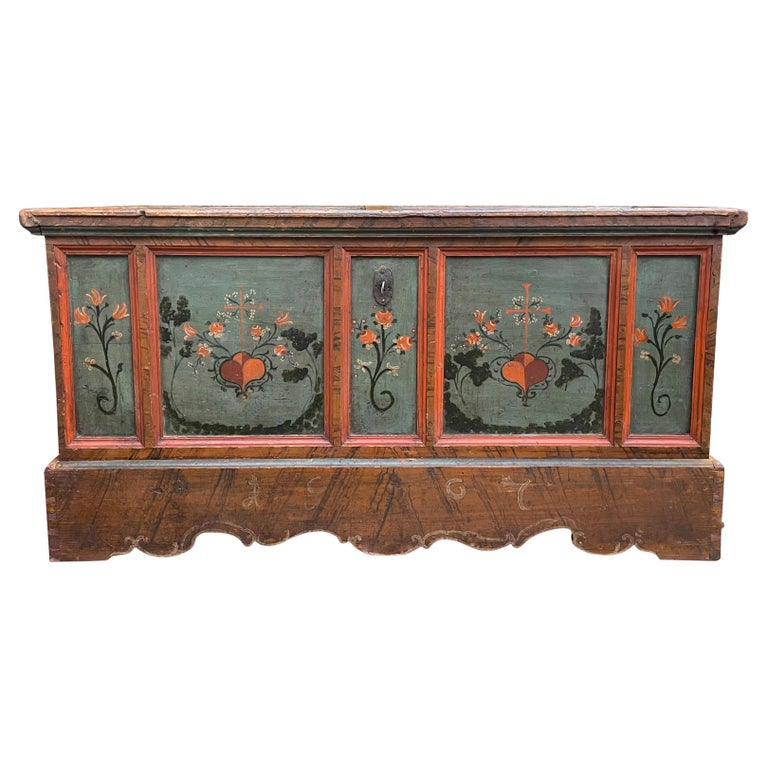 1807 Blu Painted Alpine Central Europe Blanket Chest For Sale