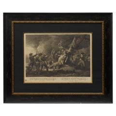 """1808 """"Death of General Montgomery at Quebec""""  Antique Engraving after Trumbull"""