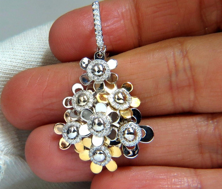Women's or Men's 1.80ct diamonds dangle earrings 18kt high shine floating cluster petals dome For Sale
