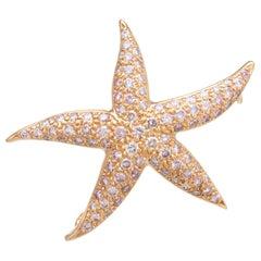 1.80ct Pink Diamond Starfish Pendant Brooch Estate 18k Rose Gold Fine Jewelry