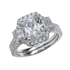 1.80ct Radiant Cut Moissanite Bridal Ring Set in 14K White Gold