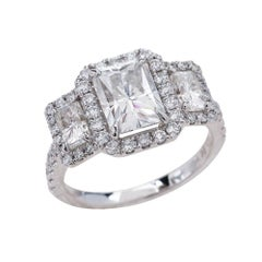 1.80ct Radiant Cut Moissanite Three Stone Engagement Ring in 14K White Gold
