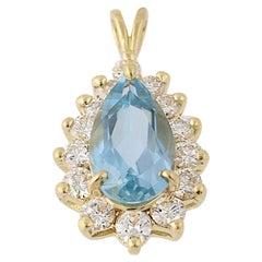 1.80ctw Pear Brilliant AAA Quality Aquamarine and Diamond Pendant 18k Gold Halo