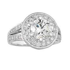 1.81 carat Centre Halo Cluster Diamond Ring
