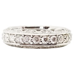 1.81 Carat Diamond Wide Anniversary Band Three-Row Scalloped Eternity White Gold