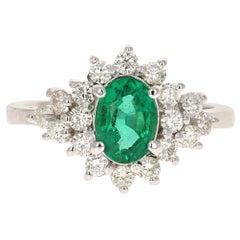 GIA Certified 1.81 Carat Emerald Diamond 14 Karat White Gold Cluster Ring