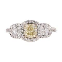1.81 Carat Fancy Light Yellow Cushion Diamond Halo Ring, 18 Karat White Gold