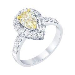 1.81 Carat Fancy Yellow Diamond 18 Karat White Gold Engagement Ring