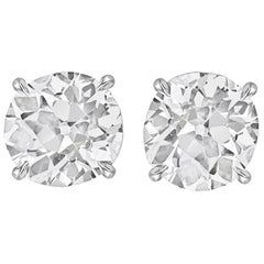 1.81 Carat G/H Color SI1/SI2 Ideal Cut Old Mine Diamond Stud Earrings