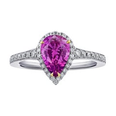 1.81 Carat Pear Shape Pink Sapphire and Diamond Ring