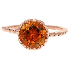 1.81 Carat Round Cut Citrine Quartz Rose Gold Ring
