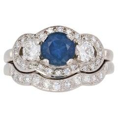 1.81 Carat Round Sapphire & Diamond Vintage Ring and Wedding Band 14 Karat Gold