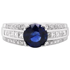 1.81 Carat Sapphire and Diamond 18 Carat White Gold Engagement Ring
