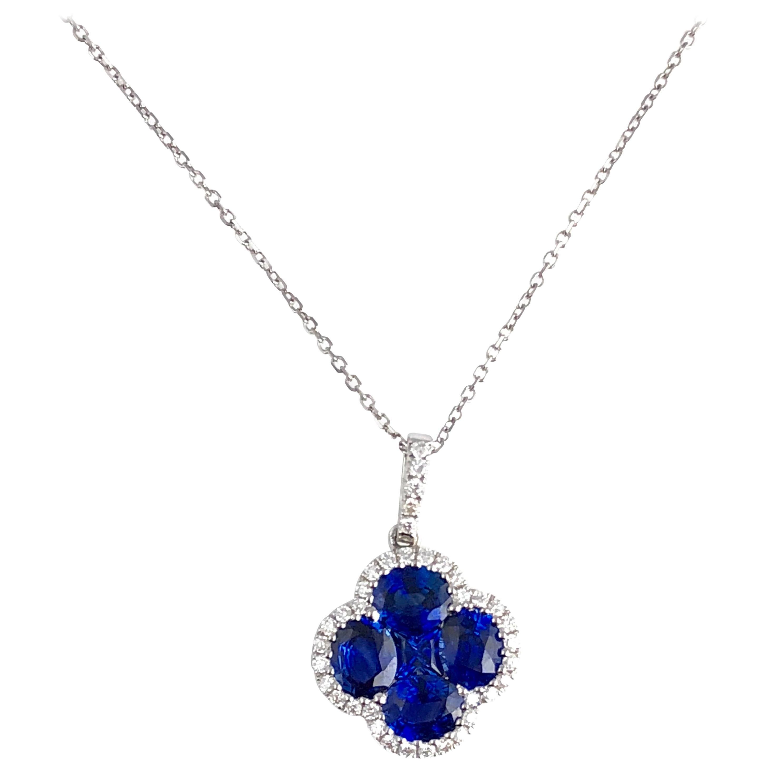 DiamondTown 1.81 Carat Vivid Blue Sapphire and Diamond Clover Pendant