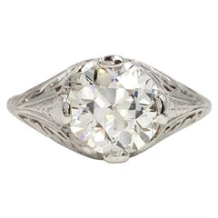 1.81 Old European Cut Edwardian Style White Gold Solitaire Ring