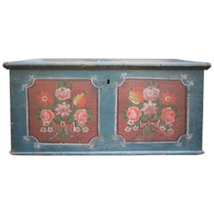 1810 Blu Floral Painted Blanket Chest