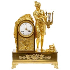 1810 Empire Period Clock Made of Gilded Bronze