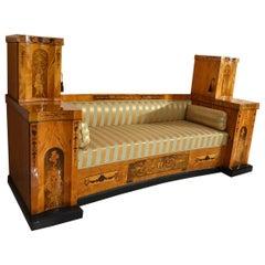 1810 Transition Period Empire / Biedermeier Sofa / Couch Inlaid Birch Veneer