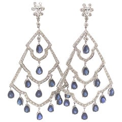 18.10ct Sapphire with Diamond Chandelier Earrings 18k White Gold
