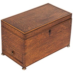 Early 19th Century English Georgian Oak Box with Metal Feet
