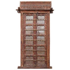 1810s Solid Teak Wood and Metal Works Kitchen Door from the Farm House in Goa