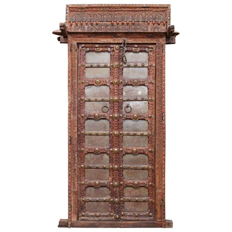 1810s Solid Teak Wood And Metal Works Kitchen Door From