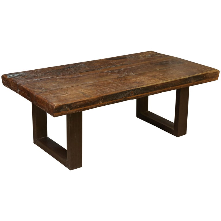 Teak Coffee Table India: 1810s Solid Thick Teak Wood Coffee Table From A Game
