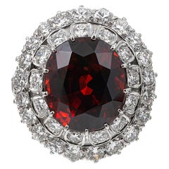 18.14 Carat Spessartite Garnet and Diamond Cocktail Ring