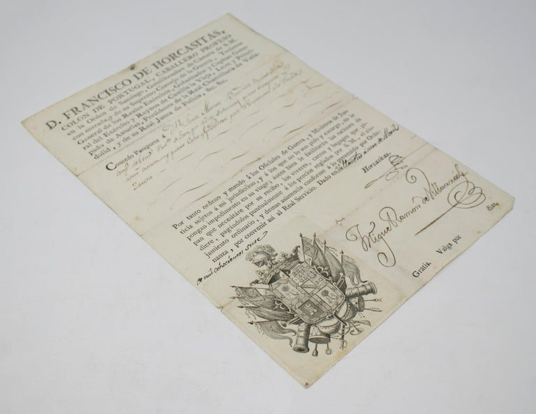 1815 Spanish Passport Hand Written on Paper In Good Condition For Sale In Malaga, ES