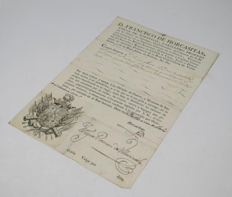 19th Century 1815 Spanish Passport Hand Written on Paper For Sale
