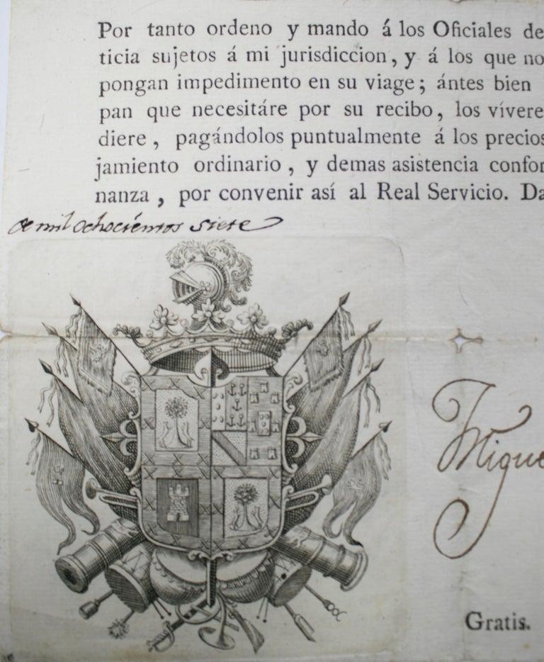 1815 Spanish Passport Hand Written on Paper For Sale 1