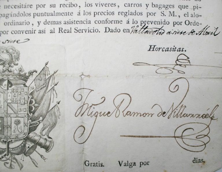 1815 Spanish Passport Hand Written on Paper For Sale 2