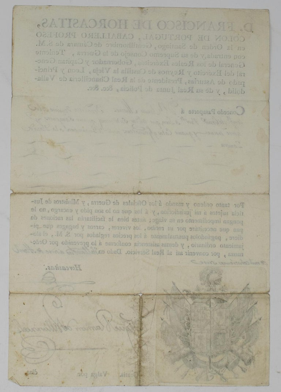 1815 Spanish Passport Hand Written on Paper For Sale 4