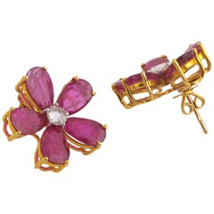 18.15cts Natural Mozambique Ruby Pear Stud Earring with Diamond in 18K Gold