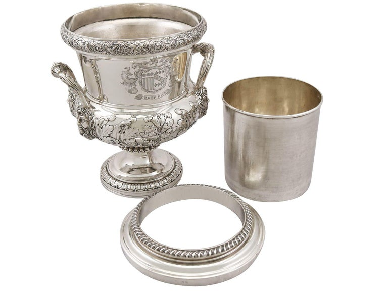 1816 Antique Georgian Sterling Silver Wine Coolers For Sale 4
