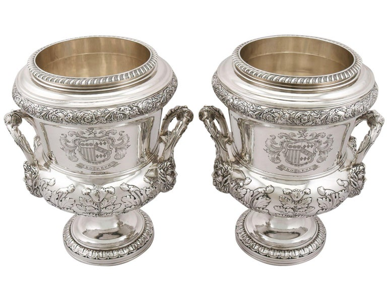English 1816 Antique Georgian Sterling Silver Wine Coolers For Sale