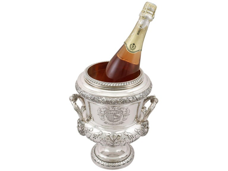 1816 Antique Georgian Sterling Silver Wine Coolers For Sale 3