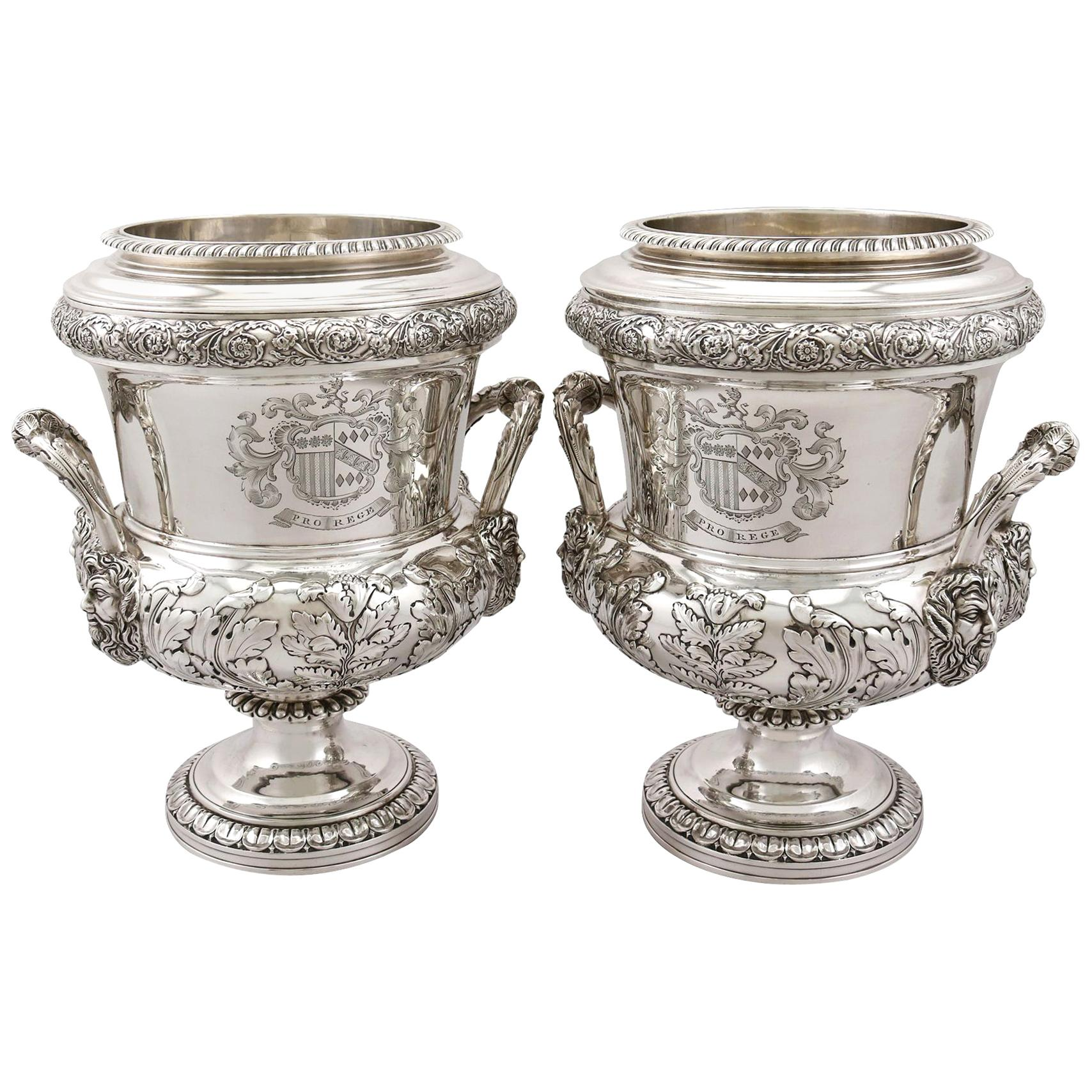 1816 Antique Georgian Sterling Silver Wine Coolers