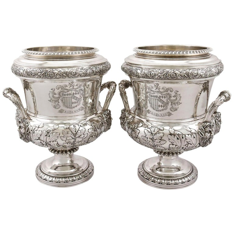 1816 Antique Georgian Sterling Silver Wine Coolers For Sale