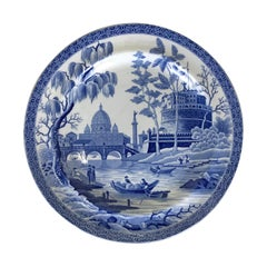 1816s English Blue Italian Spode Earthenware Rome Pattern Dinner Plate
