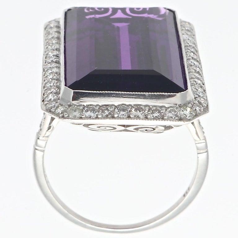 Modern 18.17 Carat Amethyst Diamond Platinum Cocktail Ring For Sale