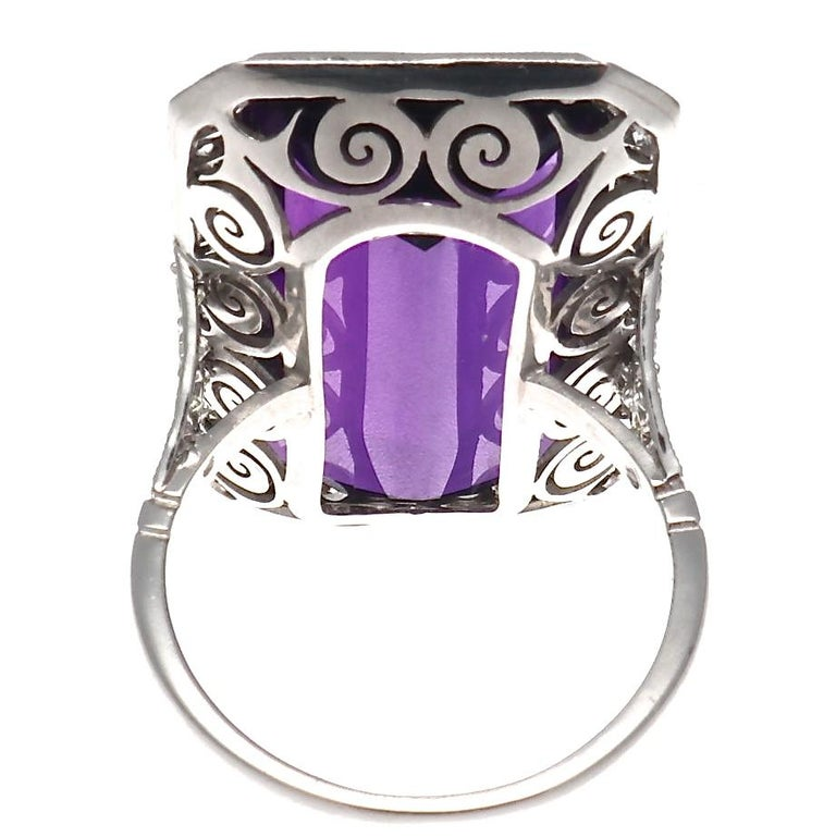18.17 Carat Amethyst Diamond Platinum Cocktail Ring In Excellent Condition For Sale In Beverly Hills, CA