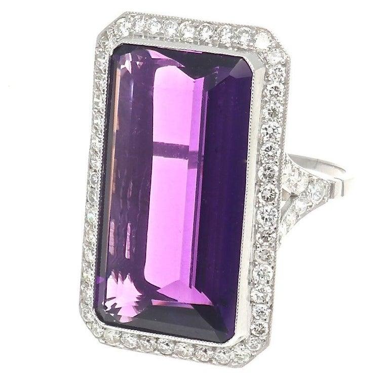 18.17 Carat Amethyst Diamond Platinum Cocktail Ring For Sale