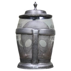 1817 Sgraffitoed Latin Memento Mori Pewter and Lead Glass Skull Tanker