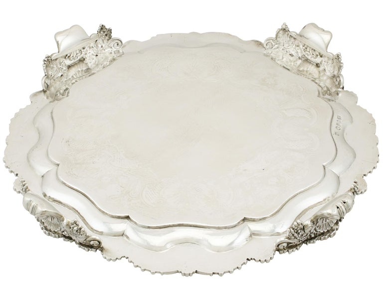 1819 Antique Sterling Silver Salver by Paul Storr For Sale 8