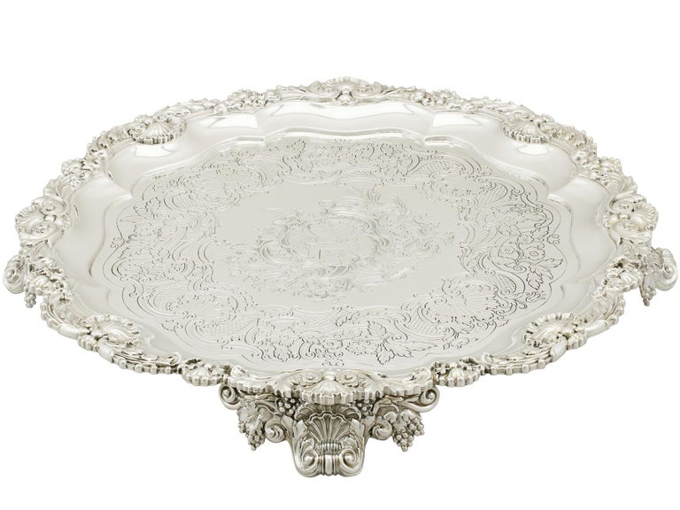 English 1819 Antique Sterling Silver Salver by Paul Storr For Sale