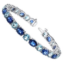 18.19 ct. t.w. Blue Sapphire Oval and Aquamarine 18k White Gold Tennis Bracelet